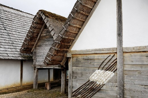 Open_air museum Heuneburg, reconstruction of a celtic settlement, Herbertingen_Hundersingen, Riedlingen, Upper Swabia, Baden_Wuerttemberg, Germany, Europe : Stock Photo