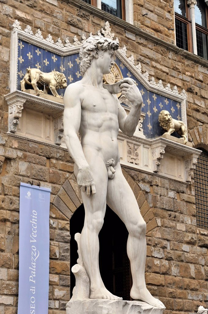 Stock Photo: 1848-741752 Renaissance statue of David, Michelangelo Buonarroti, Florence, UNESCO World Heritage Site, Tuscany, Italy, Europe