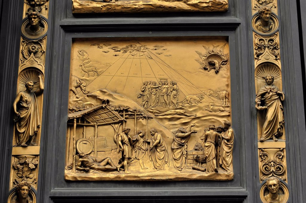 Detailed view, Paradise Portal, eastern portal of the baptistery, Florence Cathedral, an early Renaissance masterpiece by Lorenzo Ghiberti, Florence, UNESCO World Heritage Site, Tuscany, Italy, Europe : Stock Photo