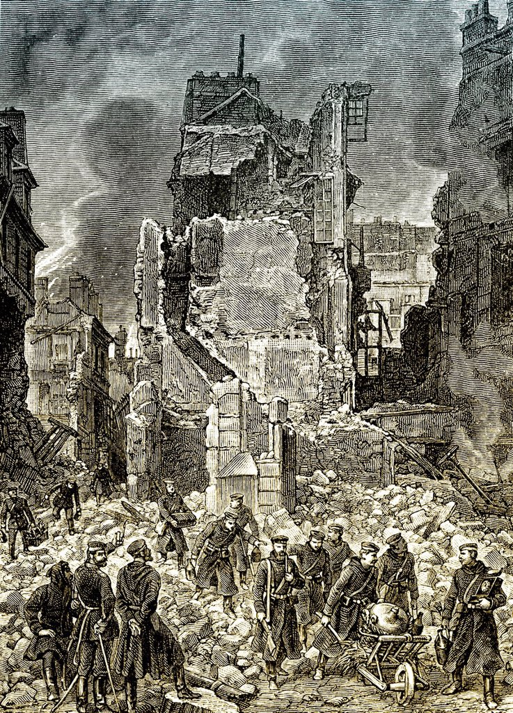 Stock Photo: 1848-741974 Historical drawing, the destruction of Château de Saint_Cloud palace in the southwest of Paris on 13 October 1870, Battle of Châtillon, Franco_Prussian War or Franco_German War, 1870_1871, between the French Empire and the Kingdom of Prussia