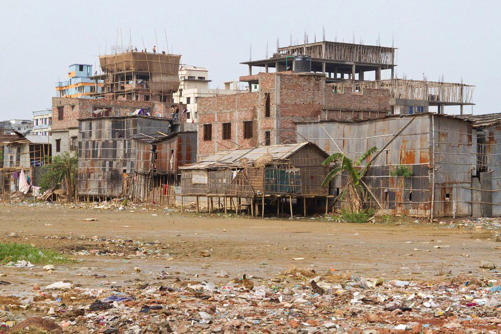 Stock Photo: 1848-742082 Brick shell constructions and huts on the outskirts of Dhaka, Shyamoli, Dhaka, Bangladesh, South Asia, Asia