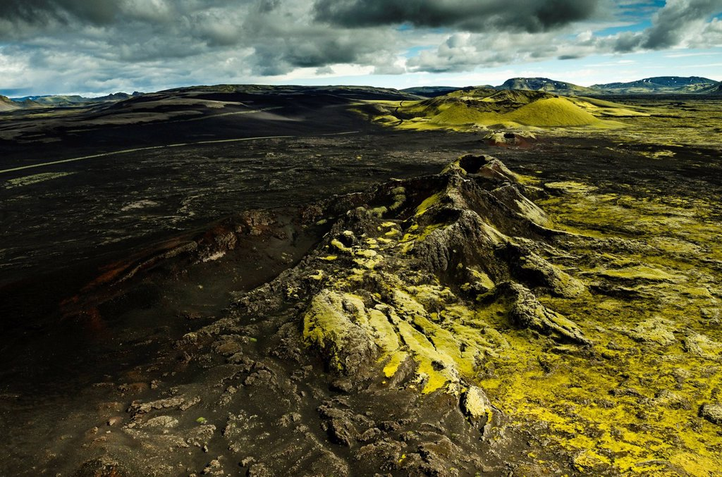 Stock Photo: 1848-742098 Aerial view, moss_covered Craters of Laki or Lakagígar, Icelandic Highlands, Southern Iceland, Suðurland, Iceland, Europe