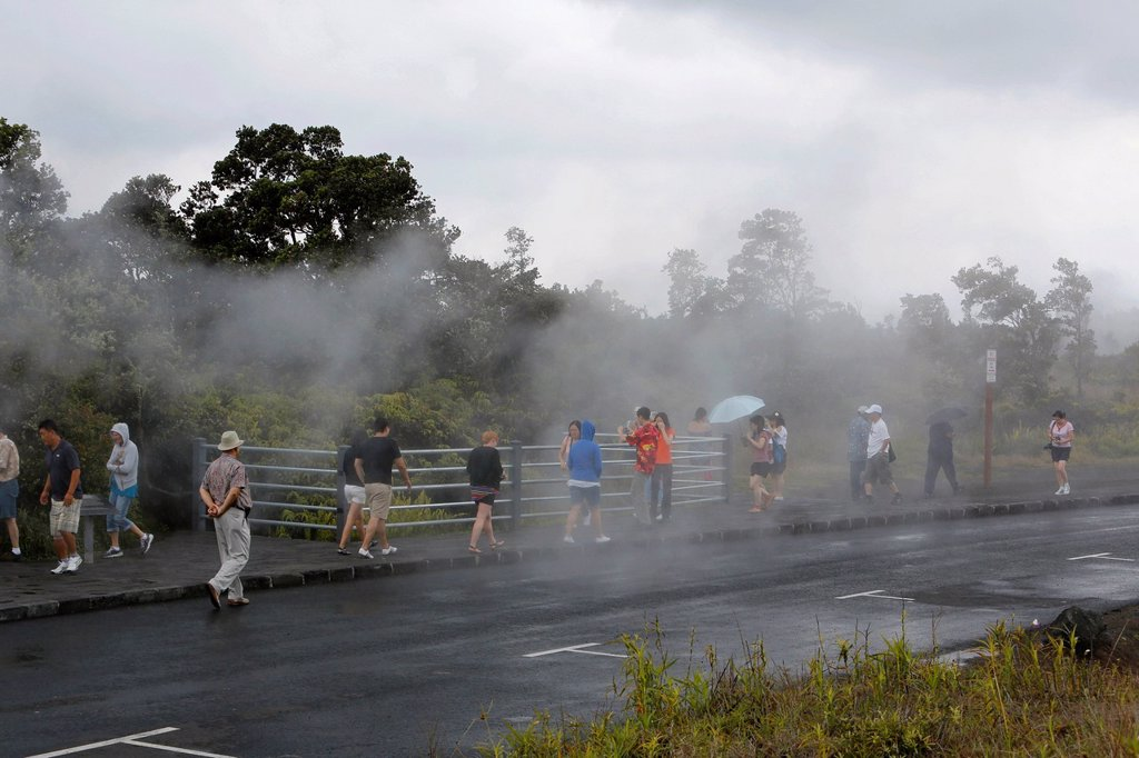 Stock Photo: 1848-742295 Tourists observing steam vents, hot springs, Hawaii Volcanoes National Park, Big Island, Hawaii, USA