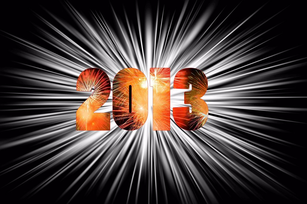 Illustration, 2013, new year, circle of stars, date : Stock Photo