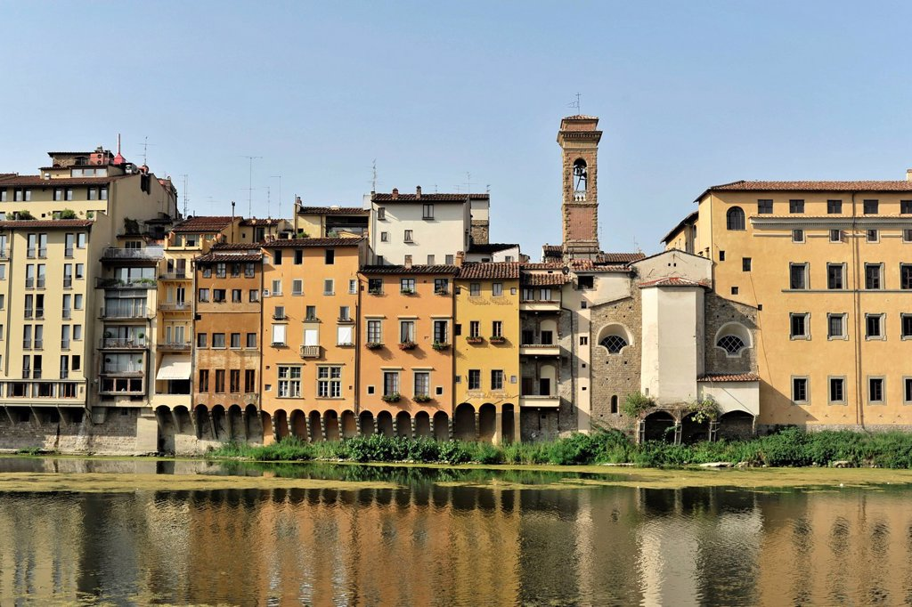 Buildings along the Arno river, Florence, Tuscany, Italy, Europe : Stock Photo