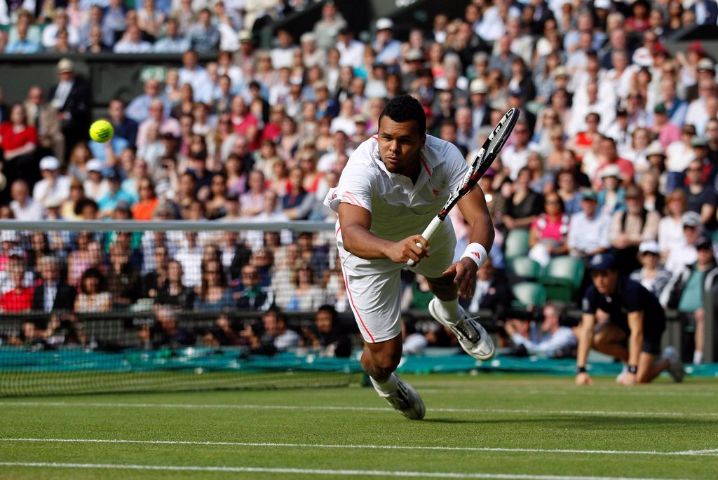 Stock Photo: 1848-743193 Jo_Wilfried Tsonga, FRA, men´s semi_final match, Wimbledon Championships 2012 AELTC, ITF Grand Slam Tennis Tournament, London, England, United Kingdom, Europe