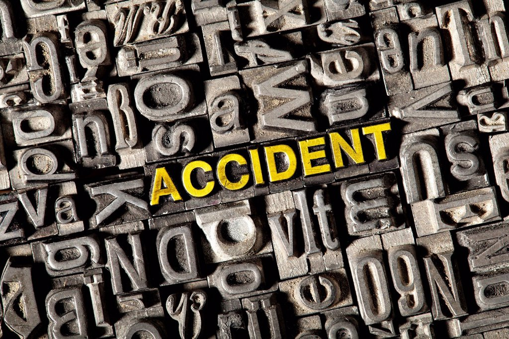 Stock Photo: 1848-743581 Old lead letters forming the word accident
