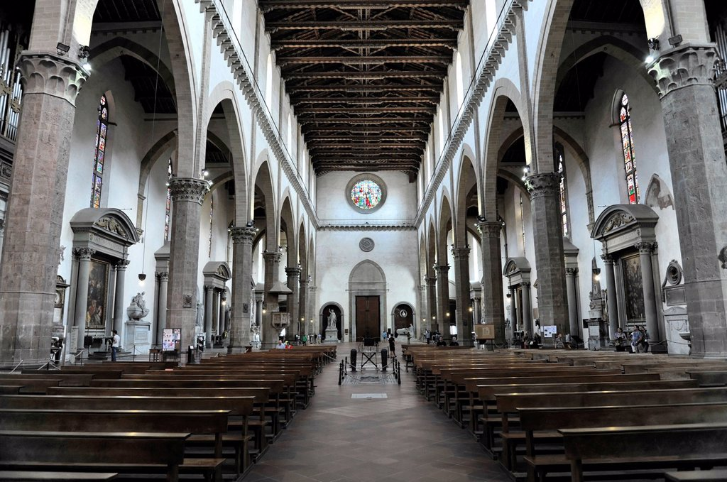 Stock Photo: 1848-743598 Interior view, Franciscan church of Santa Croce, Piazza Santa Croce, Florence, Tuscany, Italy, Europe