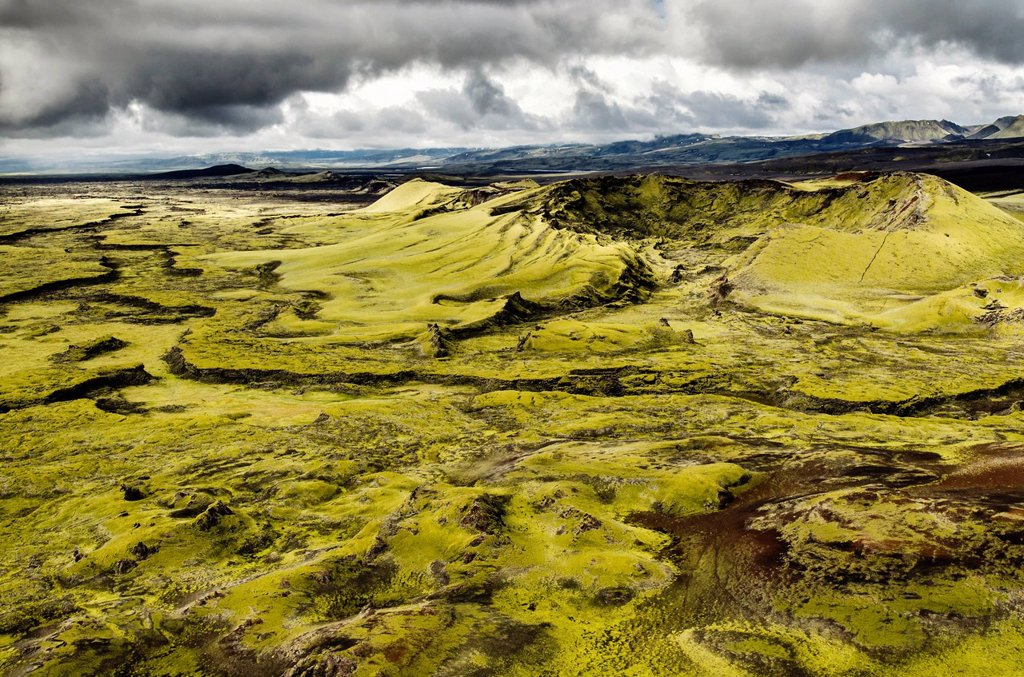 Stock Photo: 1848-743613 Aerial view, moss_covered Craters of Laki or Lakagígar, Icelandic Highlands, Southern Iceland, Suðurland, Iceland, Europe