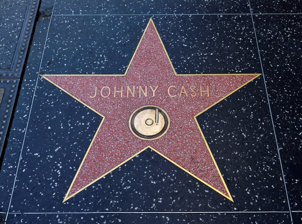 Stock Photo: 1848-744094 Terrazzo star for the artist Johnny Cash, music category, Walk of Fame, Hollywood Boulevard, Hollywood, Los Angeles, California, United States of America, USA, PublicGround