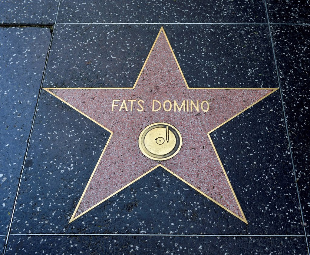 Stock Photo: 1848-744880 Terrazzo star for the musician Fats Domino, music category, Walk of Fame, Hollywood Boulevard, Hollywood, Los Angeles, California, United States of America, USA, PublicGround