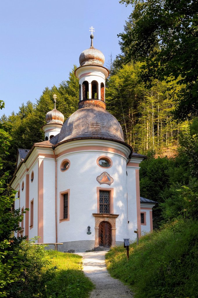 Pilgrimage Church of Maria on Kunterweg, Ramsau bei Berchtesgaden, Berchtesgadener Land, Upper Bavaria, Bavaria, Germany, Europe, PublicGround : Stock Photo
