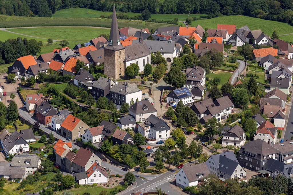 Stock Photo: 1848-745027 Aerial view, Catholic Church of St. Clement, Kallenhardt, Ruethen, Sauerland, North Rhine_Westphalia, Germany, Europe