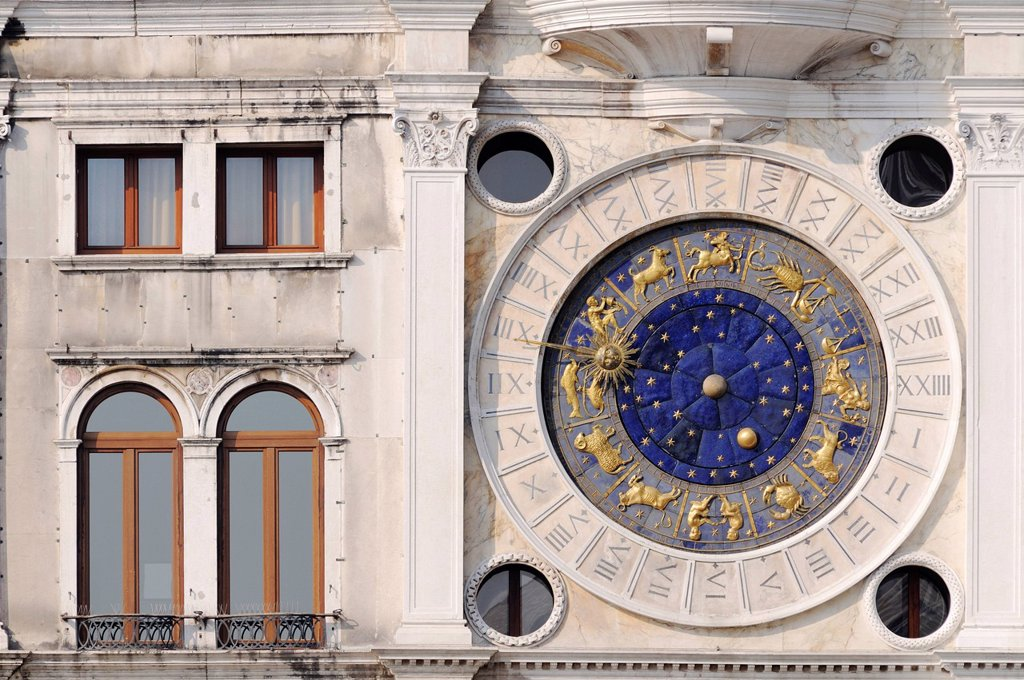 Astronomical clock, clock tower, Torre dell´Orologio tower, St. Mark´s Square, San Marco, Venice, Veneto, Italy, Europe : Stock Photo