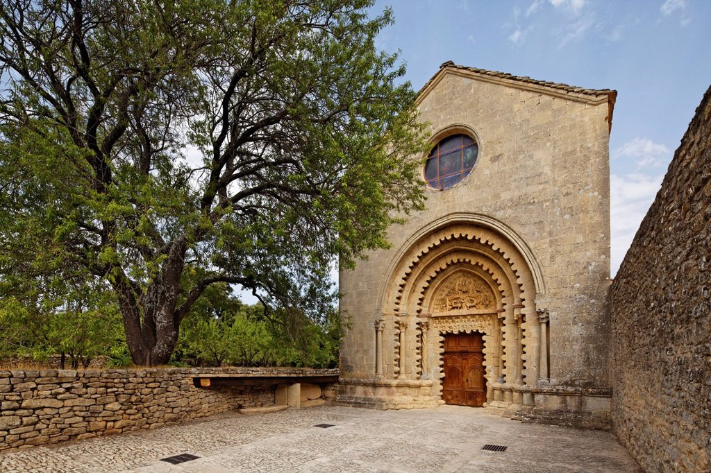 Stock Photo: 1848-745168 Priory Notre_Dame de Ganagobie, Benedictine Abbey of the Solesmes Congregation, west facade of the church, Ganagobie, Forcalquier, Provence region, Département Alpes_de_Haute_Provence, France, Europe