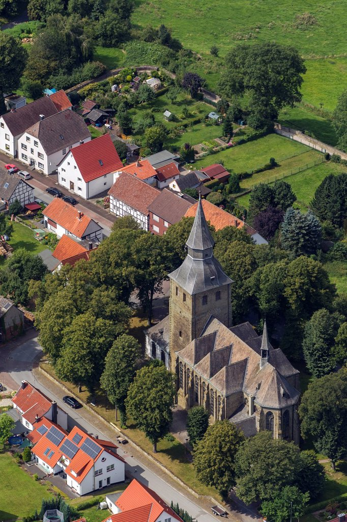 Stock Photo: 1848-745320 Aerial view, Church of St. Nicholas, Ruethen, Sauerland, North Rhine_Westphalia, Germany, Europe