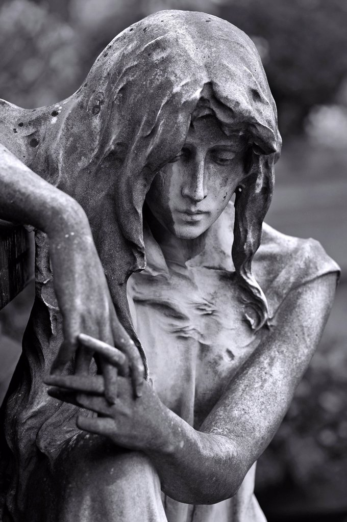 Stock Photo: 1848-745511 Sculpture of a mourner at a sarcophagus, St. John´s Cemetery, Nuremberg, Middle Franconia, Bavaria, Germany, Europe