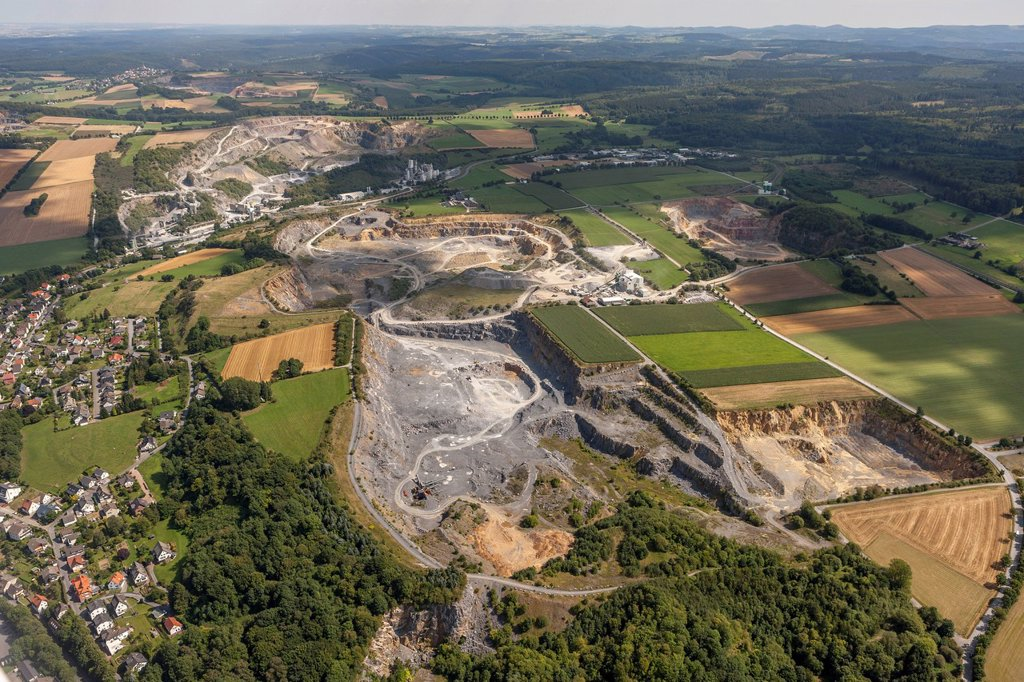 Stock Photo: 1848-746035 Aerial view, Kupferkuhle Quarry, Warsteiner Kalkwerk GmbH & Co. KG, Warstein, Sauerland, North Rhine_Westphalia, Germany, Europe