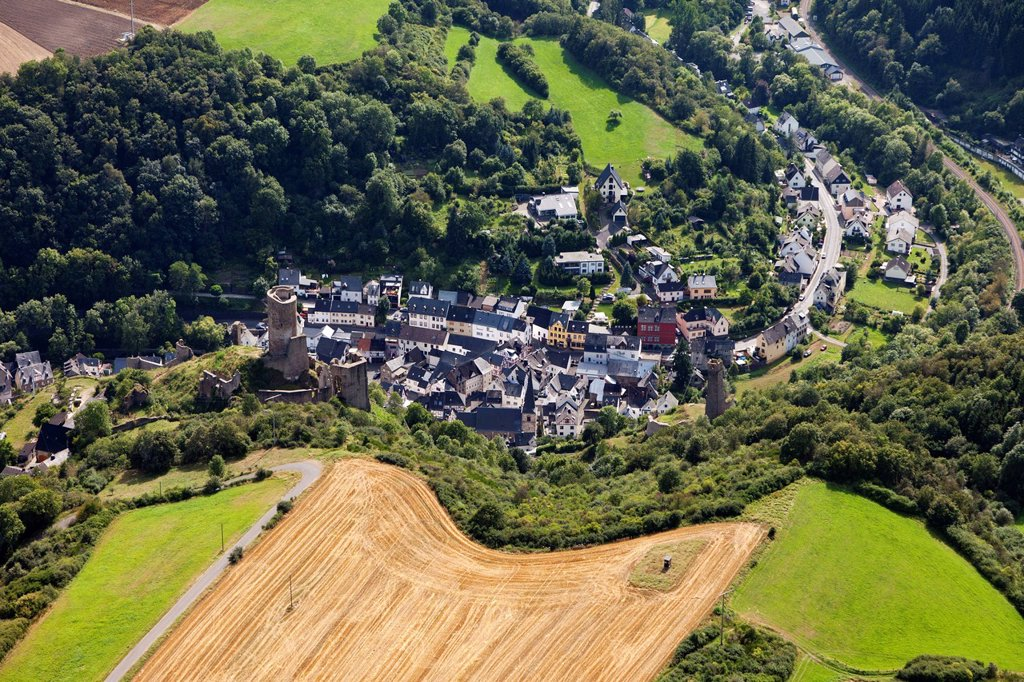 Aerial view, Loewenburg castle and Phillipsburg castle, castle ruins, Monreal, Eifel, Rhineland_Palatinate, Germany, Europe : Stock Photo