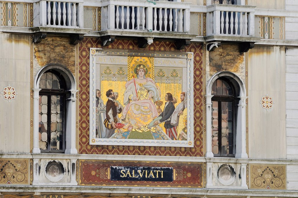 Stock Photo: 1848-746161 Palazzo Salviati palace with golden glass mosaics, Dorsoduro, Grand Canal, Venice, Veneto, Italy, Europe