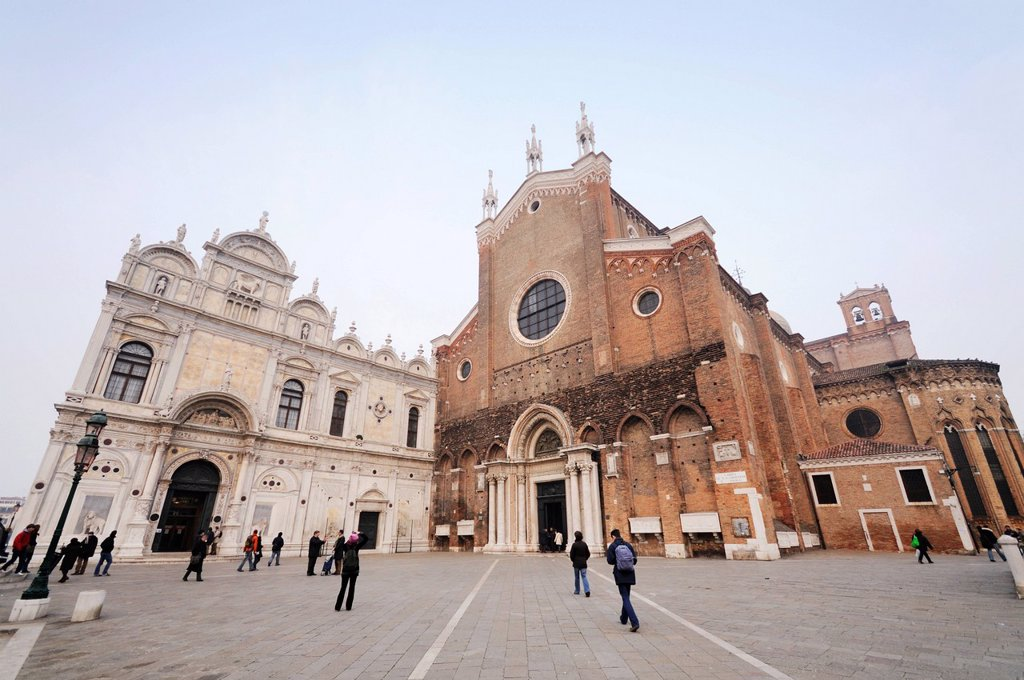 Stock Photo: 1848-746172 Scuola Grande di San Marco and Church of Santi Giovanni e Paolo, Castello, Venice, Venezia, Veneto, Italy, Europe