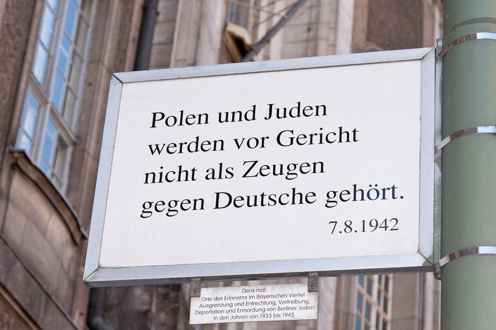 Stock Photo: 1848-746406 Sign, lettering Polen und Juden werden vor Gericht nicht als Zeugen gegen Deutsche gehoert, 7.8.1942, German for Poles and Jews may not testify in court against Germans, 7/8/1942, monument, Charlottenburg District Court, Berlin, Germany, Europe