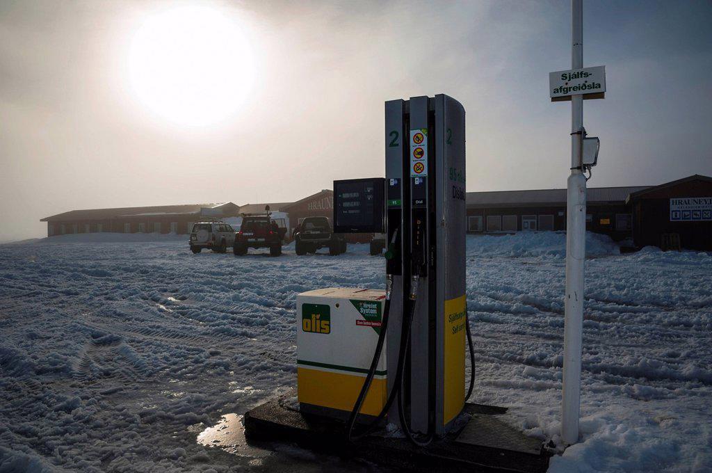 Hotel, restaurant and last petrol station before the Icelandic Highlands, Hrauneyjar, Iceland, Europe : Stock Photo