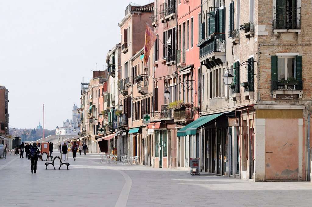 Buildings on Via Giuseppe Garibaldi, Castello, Venice, Venezia, Veneto, Italy, Europe : Stock Photo