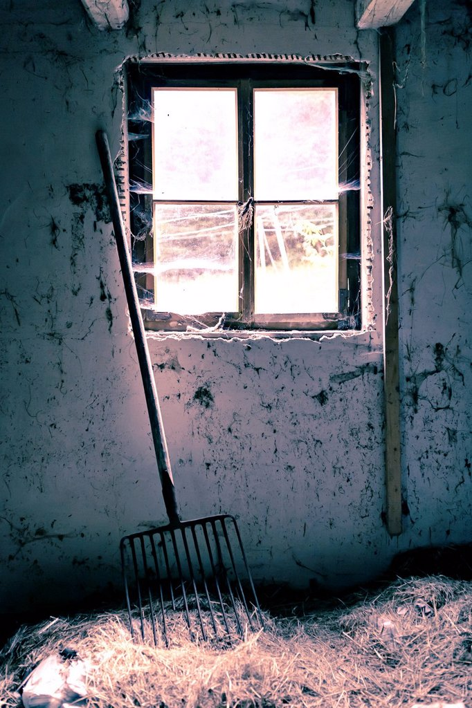 Old dilapidated building, interior view : Stock Photo