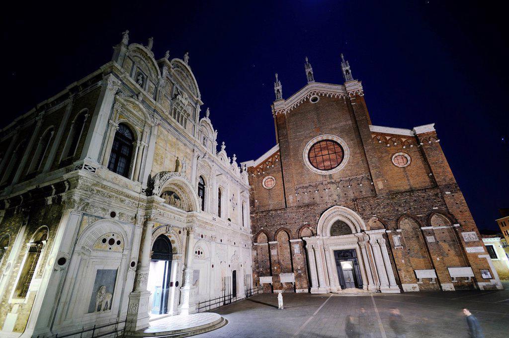Scuola Grande di San Marco and the Church of Santi Giovanni e Paolo at night, Castello, Venice, Venezia, Veneto, Italy, Europe : Stock Photo