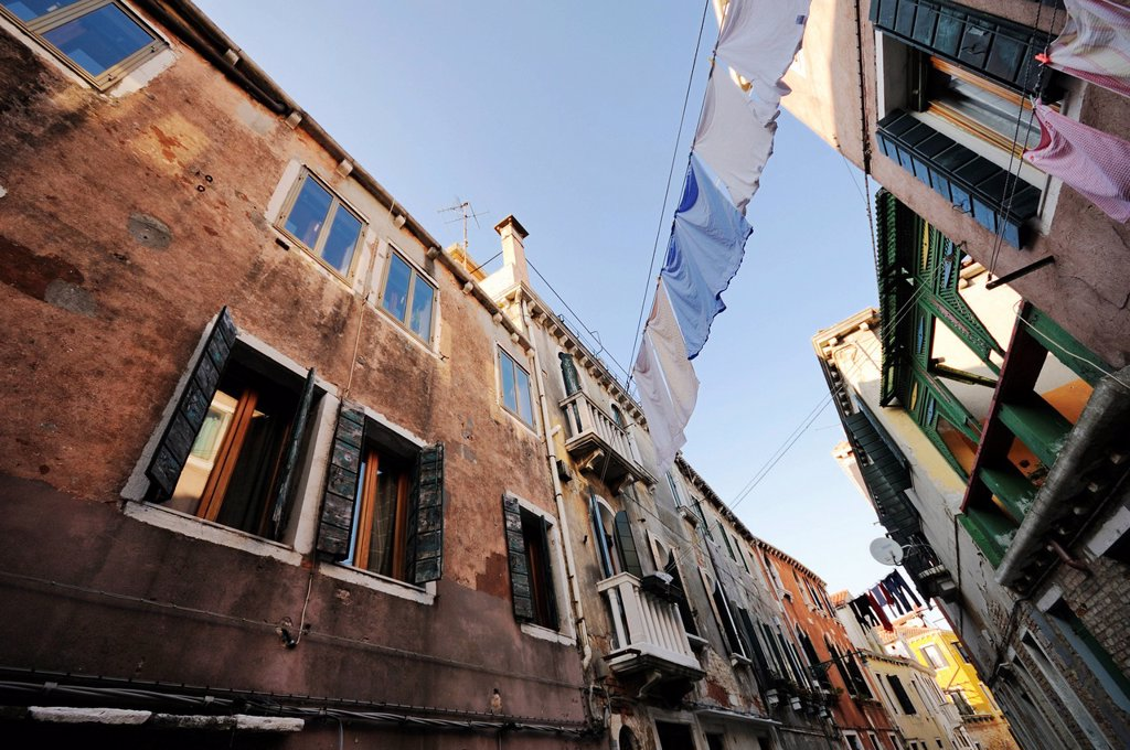 Stock Photo: 1848-746818 Houses standing close together with clothes drying on clotheslines strung between them, Castello, Venice, Venezia, Veneto, Italy, Europe