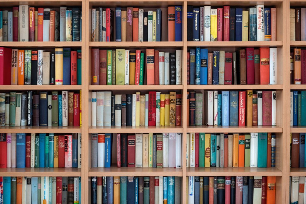 Bookcase, wall shelf with German Fiction : Stock Photo