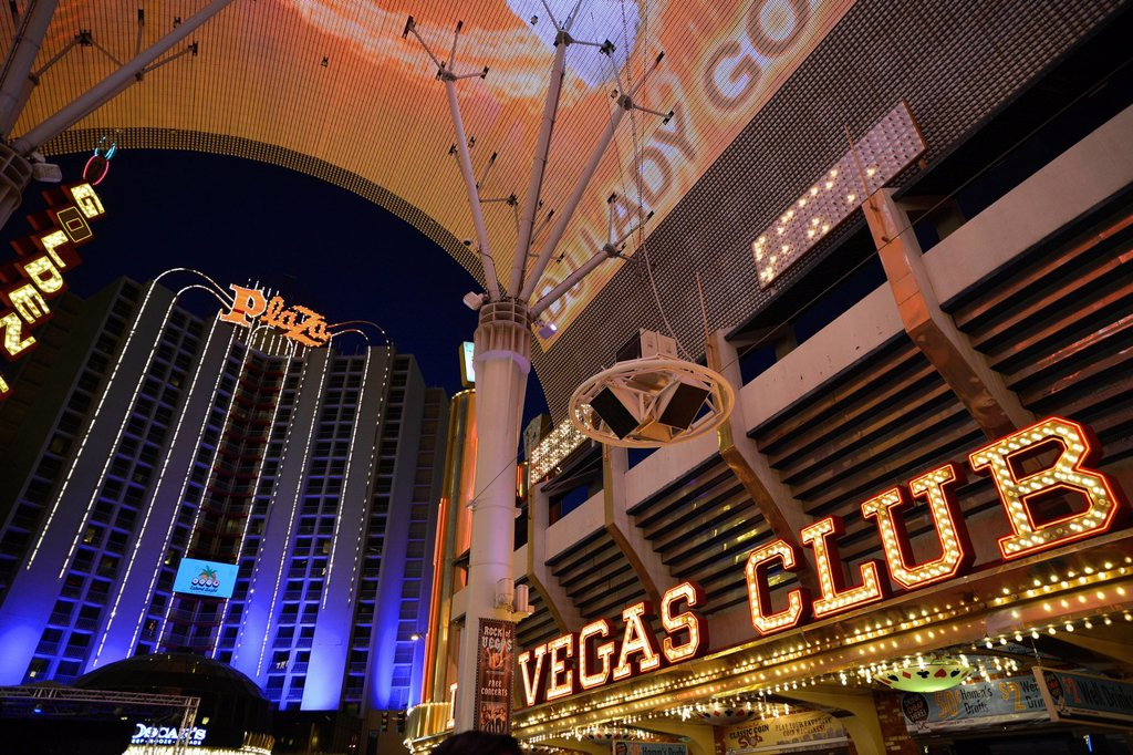 Plaza Casino Hotel, Vegas Club Casino, Fremont Street Experience in old Las Vegas, Downtown Las Vegas, Nevada, United States of America, USA, PublicGround : Stock Photo