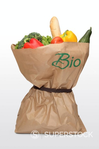 Stock Photo: 1848-747304 A bag of fruits and vegetables, lettering Bio, German for Organic