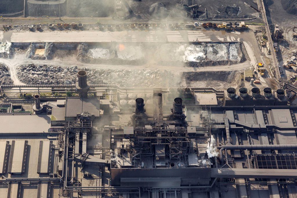 Stock Photo: 1848-747805 Aerial view, Krupp Mannesmann GmbH metallurgical plant, steel works, coke oven smoke, Duisburg, Ruhr Area, North Rhine_Westphalia, Germany, Europe