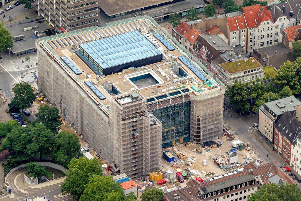 Aerial view, Hans Sachs building, town hall, Gelsenkirchen, Ruhr Area, North Rhine_Westphalia, Germany, Europe : Stock Photo