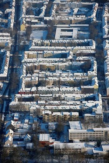 Aerial photo, perimeter block development, residential houses, Schalke, Gelsenkirchen, Ruhr Area, North Rhine_Westphalia, Germany, Europe : Stock Photo