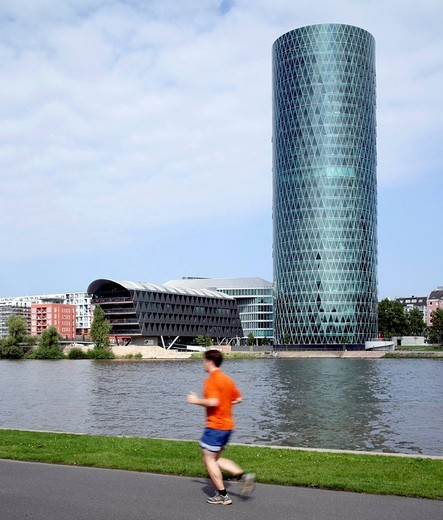 Westhafen Tower, Main promenade, Frankfurt, Hesse, Germany, Europe : Stock Photo