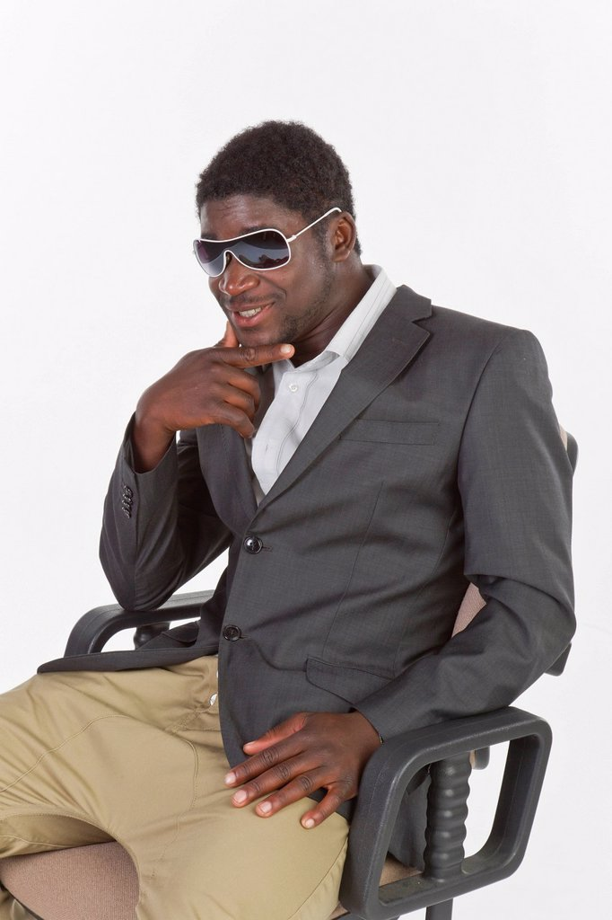 Young black man with sunglasses : Stock Photo