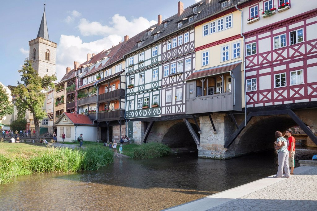 Stock Photo: 1848-748826 Kraemerbruecke, Merchants´ Bridge, Erfurt, Thuringia, Germany, Europe