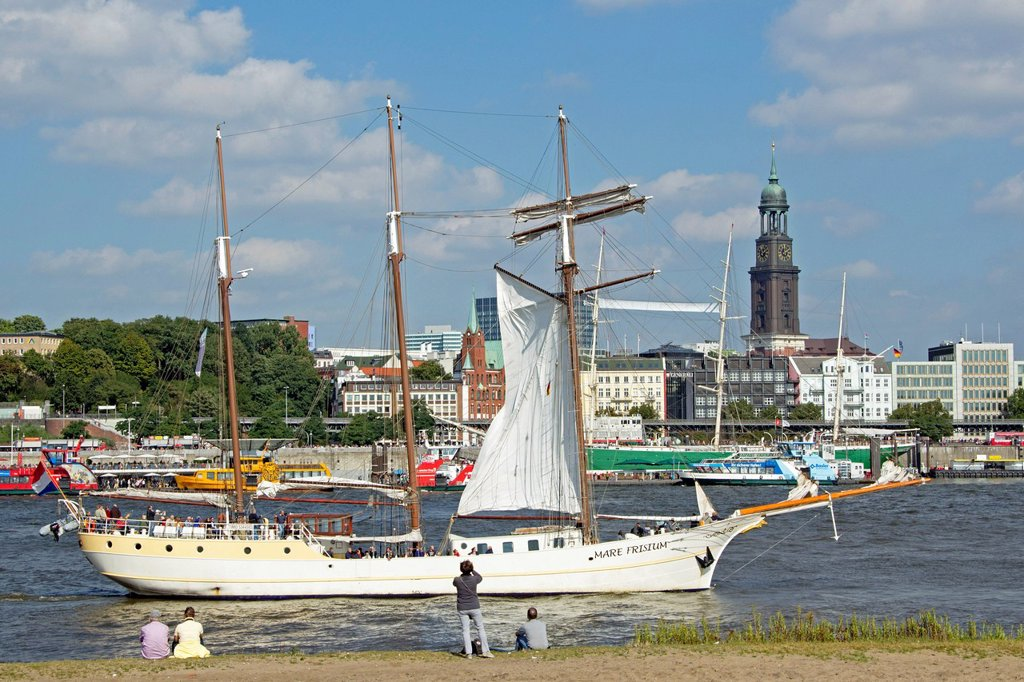 Stock Photo: 1848-748827 St. Pauli Landing Stages or St. Pauli Landing Piers, harbour, Hamburg, Germany, Europe