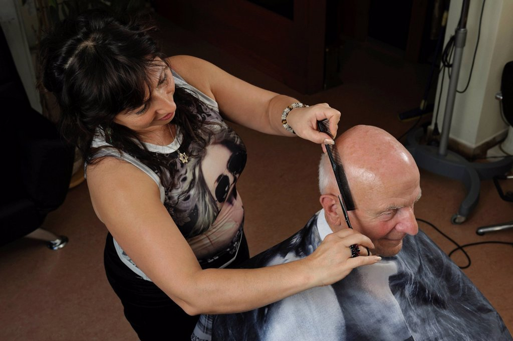 Elderly man at a hairdresser´s, hair cutting, Baden_Wuerttemberg, Germany, Europe : Stock Photo