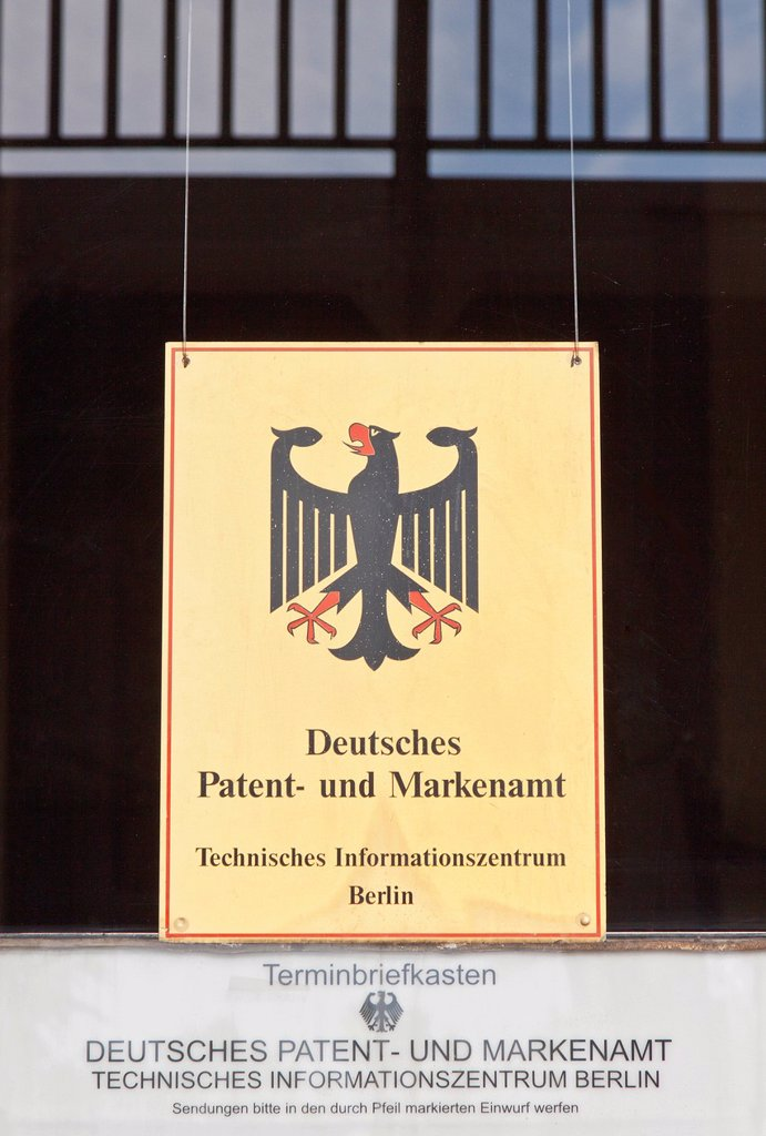 Sign, dirty window, lettering Deutsches Patent_ und Markenamt, German for German Patent and Trade Mark Office, Berlin, Germany, Europe : Stock Photo