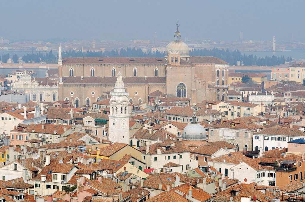 View from St Mark´s Campanile, Campanile di San Marco, in the direction of the churches Santa Maria Formosa and Santi Giovanni e Paolo, Venice, Venezia, Veneto, Italy, Europe : Stock Photo