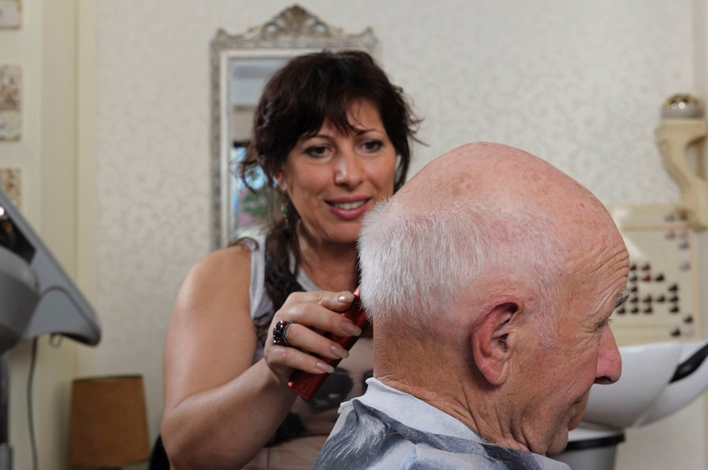 Stock Photo: 1848-749342 Elderly man at a hairdresser´s, hair cutting, Baden_Wuerttemberg, Germany, Europe