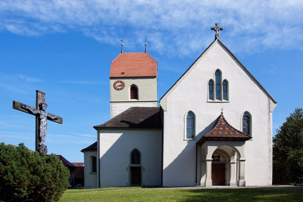 Parish Church of St. Peter and Paul in Bodman, Lake Constance, Baden_Wuerttemberg, Germany, Europe : Stock Photo