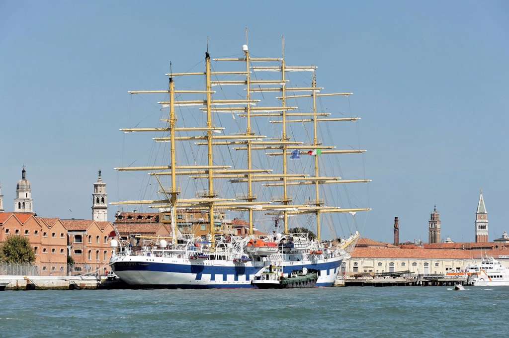 Stock Photo: 1848-749650 Cruise ship, Royal Clipper, 133.74m long, built in 1909, 227 passengers, at the pier in Venice, Veneto, Italy, Europe