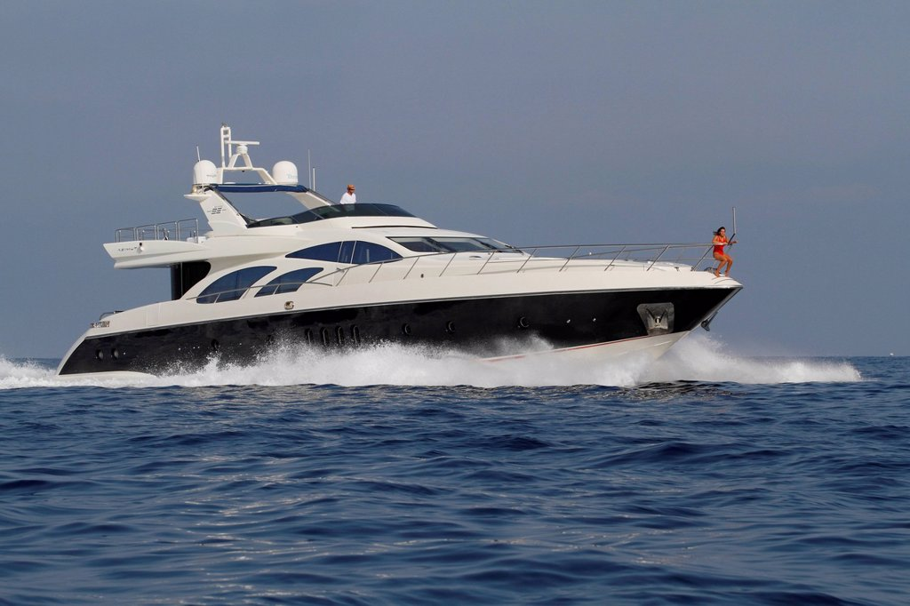 Leonardo II, a cruiser built by Azimut, type of boat: Leonardo 98, length: 30.15 m, built in 2004, French Riviera, France, Mediterranean Sea, Europe : Stock Photo