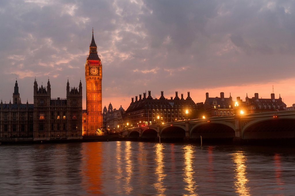Big Ben, Westminster Palace, Houses of Parliament at dusk, Unesco World Heritage Site, Westminster Bridge, London, England, United Kingdom, Europe : Stock Photo