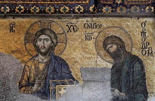 Pantocrator Jesus and John the Baptist, Deesis mosaic in the South Gallery, Hagia Sophia, Aya Sofya, Sultanahmet, Istanbul, Turkey : Stock Photo